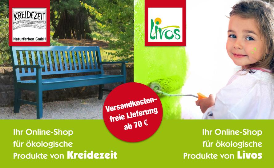 Unsere Online-Shops für ökologische Farben, Öle, Lacke uvm. von Kreidezeit und Livos